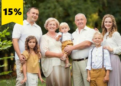 Пенсионерам, молодожёнам, новосёлам и многодетным скидка 15%