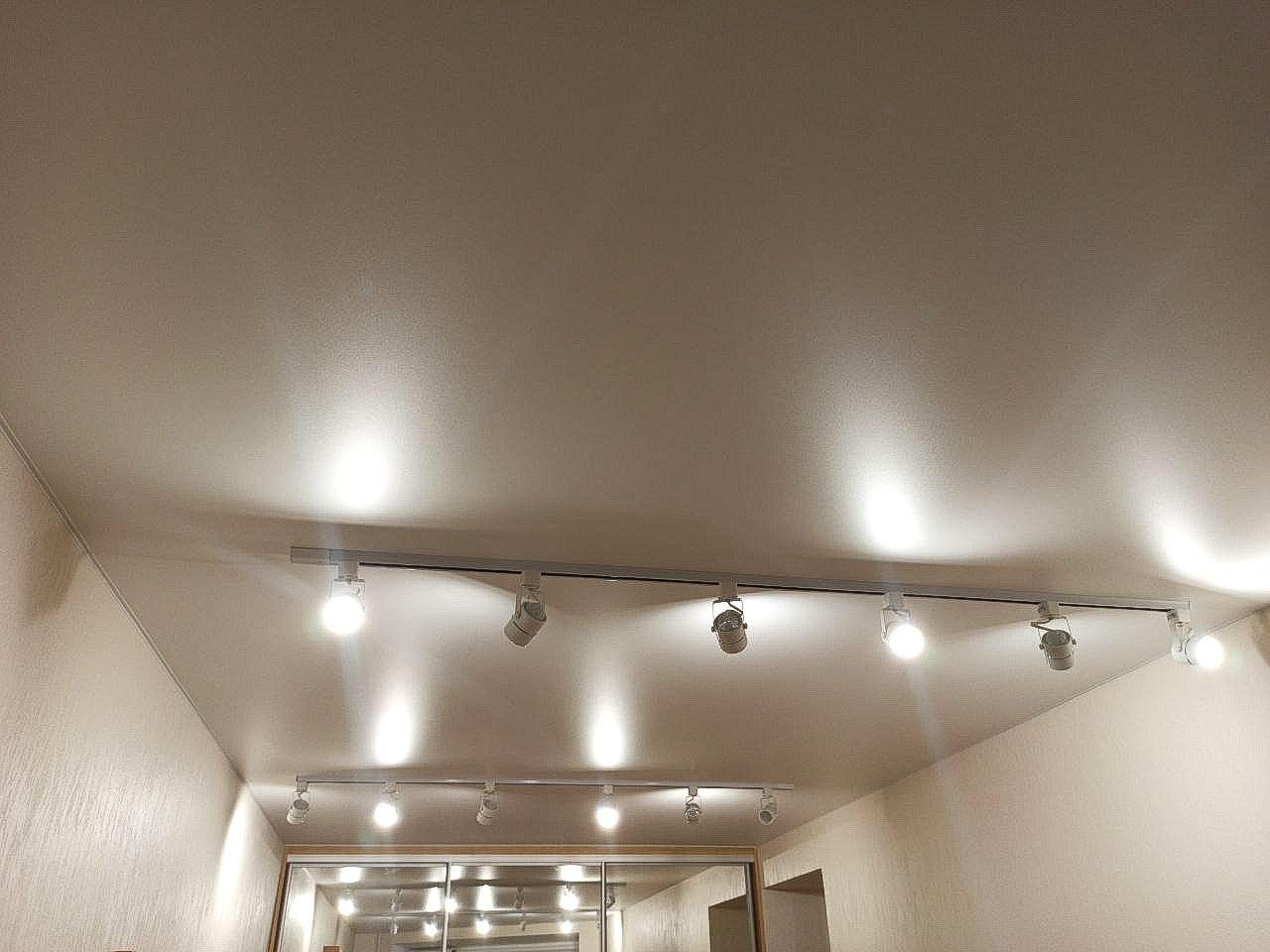 Белый матовый потолок с трековыми светильниками.